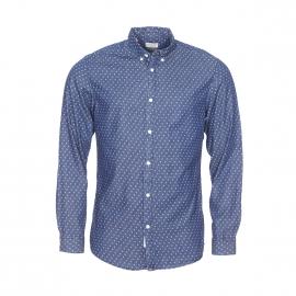 Chemise cintrée Selected bleu jean brut à motifs blancs