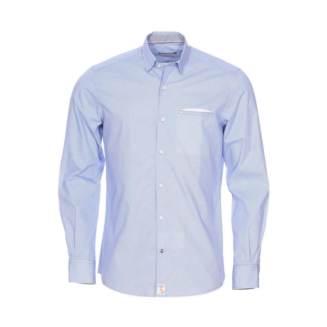 Chemise cintrée  en coton blanc à petits motifs bleus