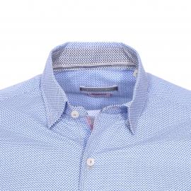 Chemise cintrée Pierre Cardin en coton blanc à petits motifs bleus