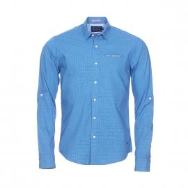 Chemise droite Scotch&Soda en coton à carreaux bleus et verts