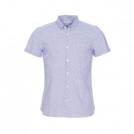 Chemise manches courtes Crush Teddy Smith à carreaux bleu marine et blancs