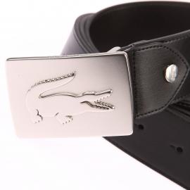 Ceinture ajustable Lacoste en refente de cuir noir à boucle pleine logotypée