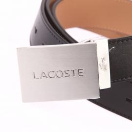 Ceinture ajustable Lacoste en cuir noir à petite boucle pleine argentée