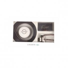 Coffret cadeau Lacoste : Ceinture ajustable Lacoste en refente de cuir noir réversible à boucles interchangeables