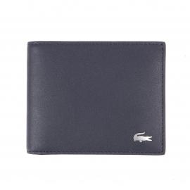 Coffret cadeau Lacoste : portefeuille et porte-cartes en cuir bleu nuit