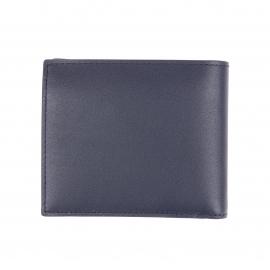 Coffret cadeau Lacoste : portefeuille en cuir bleu nuit et porte-clés en métal