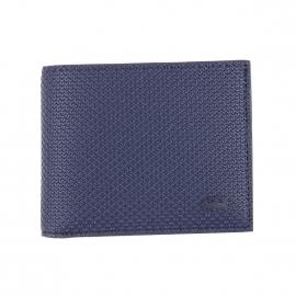 Petit portefeuille Lacoste bleu nuit texturé de motifs