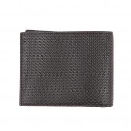 Petit portefeuille Lacoste noir texturé de motifs