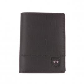 Portefeuille européen 2 volets Eden Park noir bi-matière à porte-monnaie