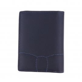 Portefeuille européen 2 volets Eden Park bi-matière bleu marine à porte-monnaie