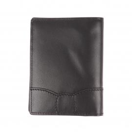Portefeuille européen 2 volets Eden Park en cuir noir à surpiqûres noires