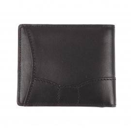 Portefeuille italien 2 volets Eden Park en cuir noir à surpiqûres noires
