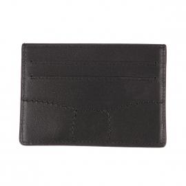 Porte-cartes Eden Park en cuir noir à surpiqûres noires