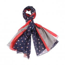 Chèche Armor Lux bleu marine, rouge et blanc à motifs voiliers