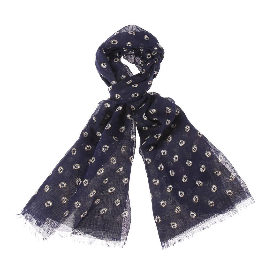 Chèche  en lin et coton bleu marine à imprimé cachemire