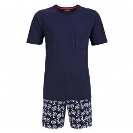 Pyjama court Ringella : Tee-shirt col rond bleu marine et short bleu marine à imprimés bicyclettes