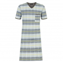 Liquette tee-shirt col V à rayures blanches, bleues et vert pâle