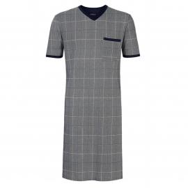 Liquette tee-shirt col V grise à chevrons bleu marine et rayures blanches et bleues