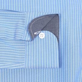 Chemise cintrée Hilfiger Denim en coton stretch bleu ciel à rayures blanches