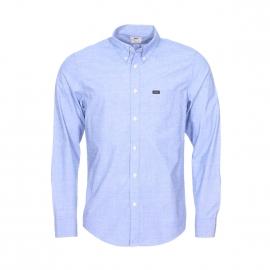 Chemise droite Lee en coton fil à fil bleu moiré