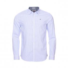 Chemise cintrée Hilfiger Denim en coton stretch blanc à rayures bleu ciel