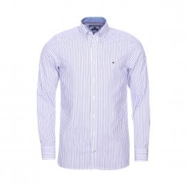 Chemise cintrée Tommy Hilfiger en coton blanc à rayures bleues