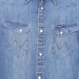 Chemise cintrée manches courtes Wrangler en jean bleu