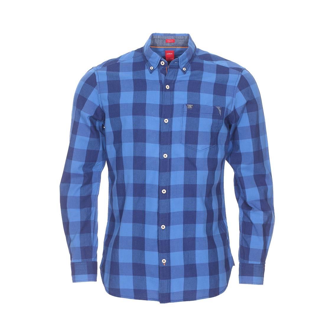 Chemise droite  en coton à carreaux bleus