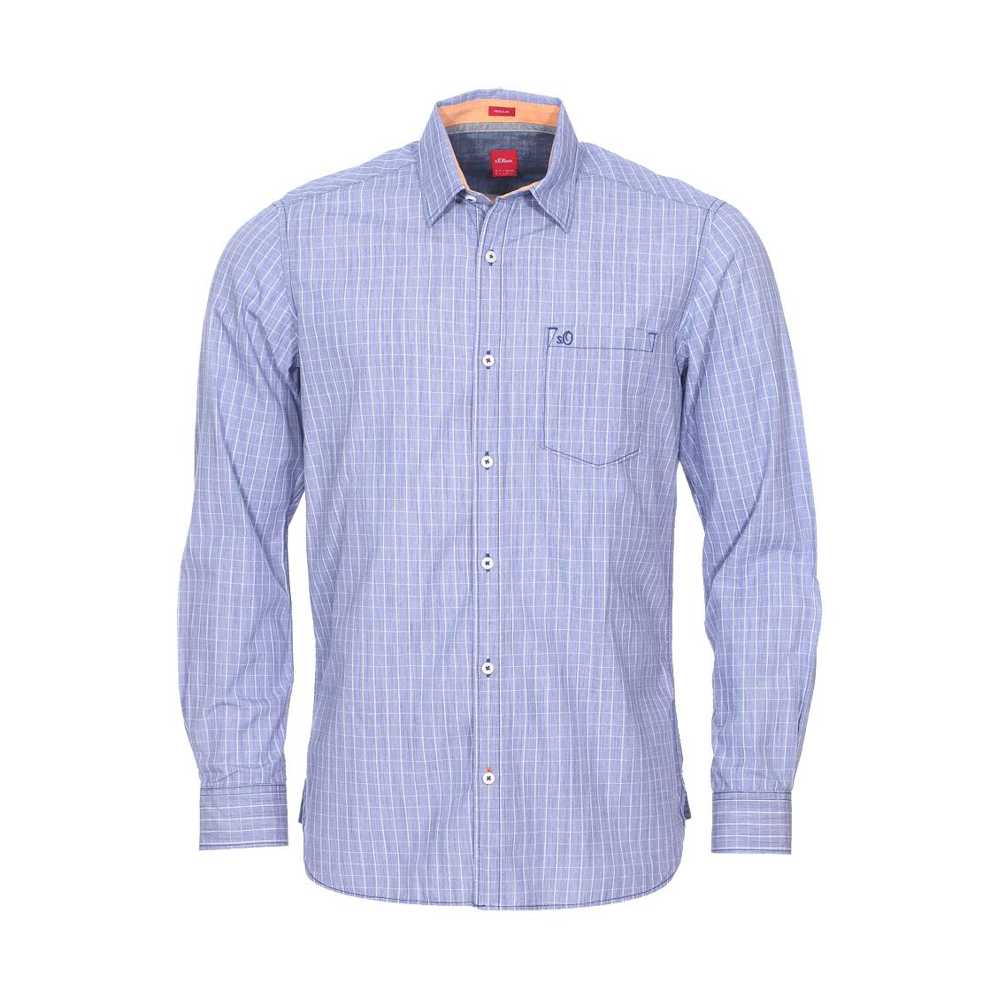 Chemise droite  en coton fil à fil à carreaux bleu indigo et blancs