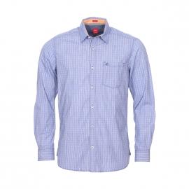 Chemise droite S. Oliver en coton fil à fil à carreaux bleu indigo et blancs