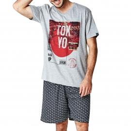 Pyjama court Arthur Sushi : tee-shirt col V gris chiné à imprimé Tokyo et bermuda noir à motifs sushis
