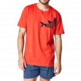 Pyjama court Arthur Jaws : tee-shirt col rond rouge et caleçon bleu marine à imprimés requins