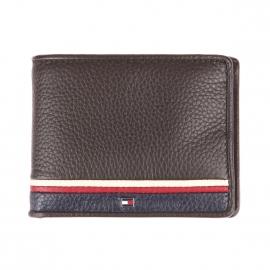Mini portefeuille italien Tommy Hilfiger Corporate en cuir marron