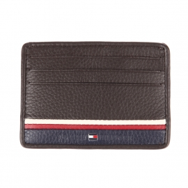 Porte-cartes Tommy Hilfiger Corporate en cuir marron