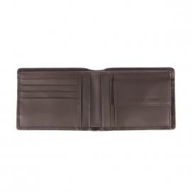 Portefeuille italien Tommy Hilfiger Corporate en cuir marron à porte-monnaie