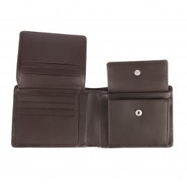 Portefeuille italien Tommy Hilfiger Corporate en cuir marron à 3 volets