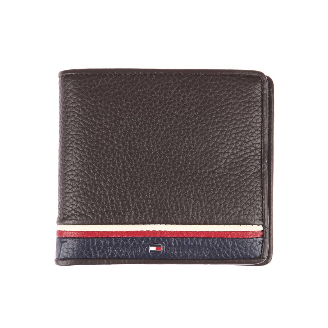 portefeuille italien hilfiger corporate en cuir marron 224 porte monnaie zipp 233 au dos rue