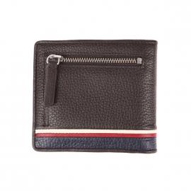 Portefeuille italien Tommy Hilfiger Corporate en cuir marron à porte-monnaie zippé au dos
