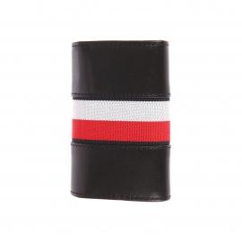 Etui à clés Tommy Hilfiger Corporate en cuir noir à liseré rouge, bleu marine et blanc