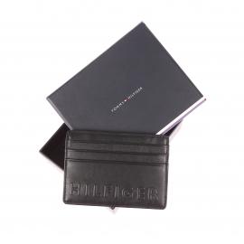 Porte-cartes Tommy Hilfiger en cuir noir incrusté HILFIGER en relief