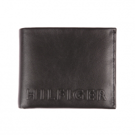 Portefeuille italien Tommy Hilfiger en cuir noir incrusté HILFIGER en relief