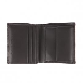 Portefeuille européen Tommy Hilfiger en cuir noir incrusté HILFIGER en relief à 3 volets