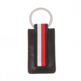 Porte-clés Tommy Hilfiger Corporate en cuir noir à liseré rouge, bleu marine et blanc