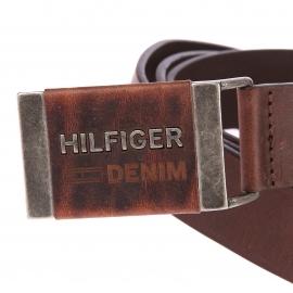 Ceinture Hilfiger denim en cuir marron à boucle peine en métal et cuir patiné