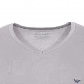 Lot de 2 tee-shirts col V Emporio Armani en coton stretch : 1 modèle gris et 1 modèle bleu marine