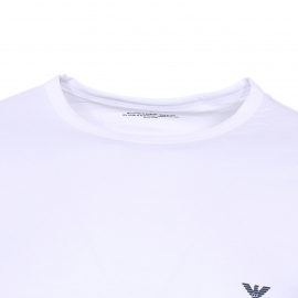 Lot de 2 tee-shirts col rond Emporio Armani en coton stretch : 1 modèle blanc et 1 modèle bleu marine