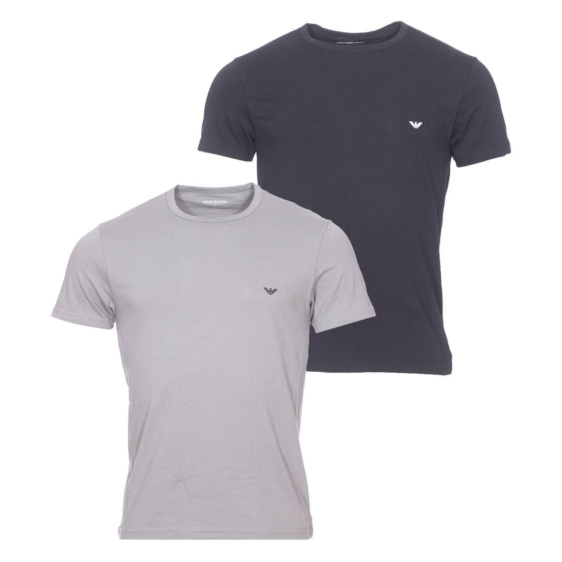 Lot de 2 tee-shirts col rond  en coton stretch : 1 modèle gris et 1 modèle noir