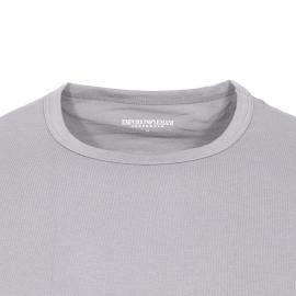 Lot de 2 tee-shirts col rond Emporio Armani en coton stretch : 1 modèle gris et 1 modèle noir