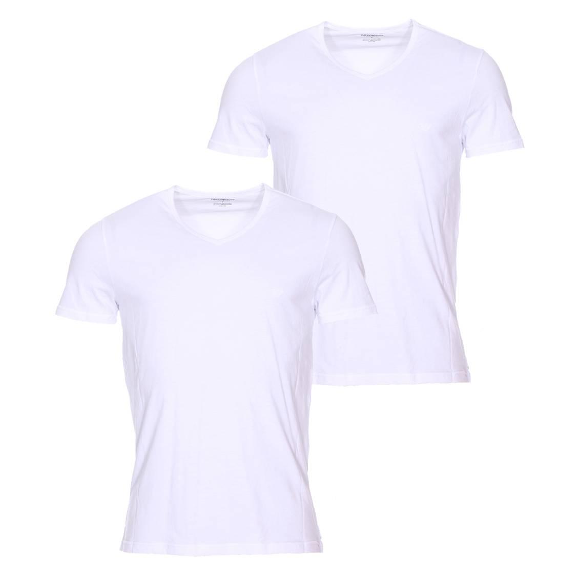 Lot de 2 tee-shirts col v  en coton blanc floqué en blanc