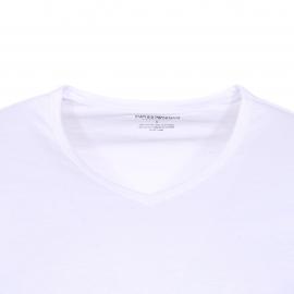 Lot de 2 tee-shirts col V Emporio Armani en coton blanc floqué en blanc
